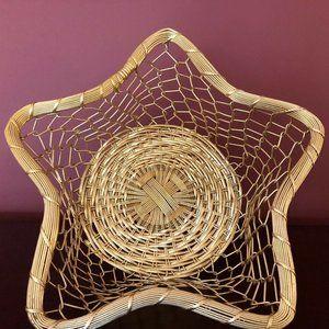 Light Gold Metal Star Shaped Basket